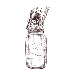hand drawn milkshake vector image