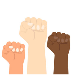Hand raised fists different colors vector