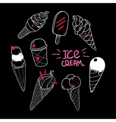 Ice Cream Set Black vector image