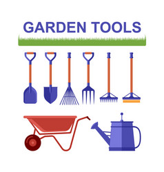 isolated garden tools with grass vector image