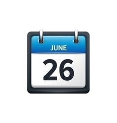 June 26 Calendar icon flat vector