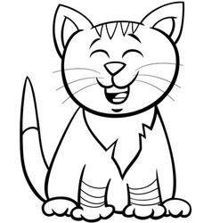kitten or cat cartoon character coloring book vector image