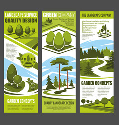 Landscape design banner with green garden tree vector