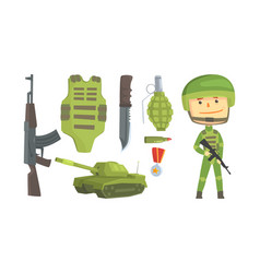 Military man attributes and soldier wearing helmet vector