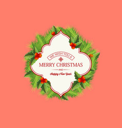 natural christmas wreath template vector image
