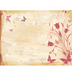 old paper with tulips vector image