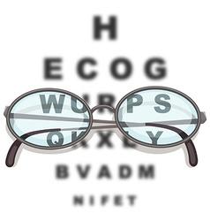 Pair eyeglasses and reading chart vector