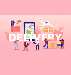 people using drones for food delivery concept vector image