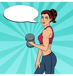 Pop Art Athletic Woman Exercising with Dumbbells vector
