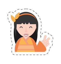 portrait geisha kimono diadem vector image