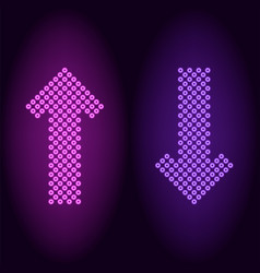 Purple and violet neon arrow with rings vector