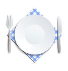 Realistic empty plate fork and knife served on a vector