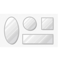realistic mirrors empty oval and square mirrors vector image
