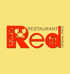 Restaurant red crab vector