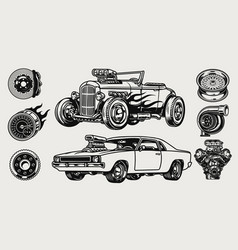 retro custom cars and parts composition vector image