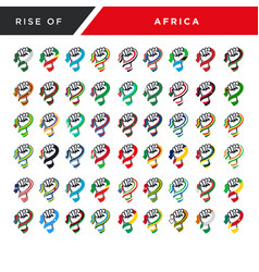 Rising fist hand africa flag set vector