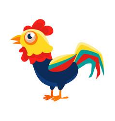 Rooster cartoon character standing calmcock vector