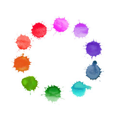 Round frame made of watercolor rainbow vector