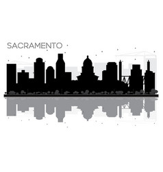 Sacramento city skyline black and white vector