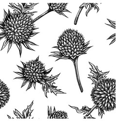 seamless pattern with black and white globethistle vector image
