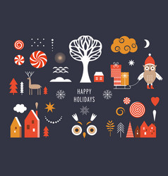 set graphic elements for christmas cards vector image