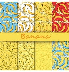 Set of banana colored doodle seamless vector