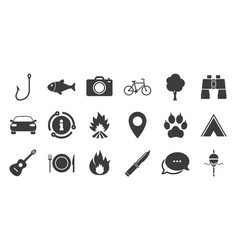 Set travel hiking and camping icons vector