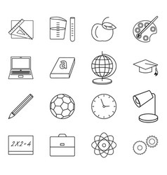 Sixteen thin line icons for vector