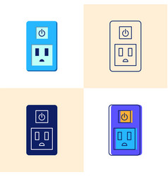 smart socket icon set in flat and line styles vector image