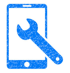 Smartphone setup wrench grunge icon vector