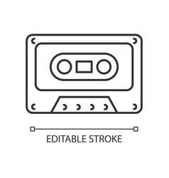 Tape cassette linear icon vector
