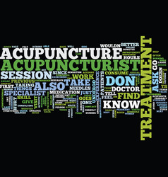 The dos and donts of acupuncture text background vector