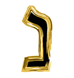 The golden letter of nun from the hebrew alphabet vector