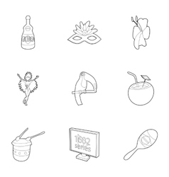 Tourism in Brazil icons set outline style vector