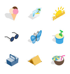 Traveling icons isometric 3d style vector