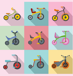 Tricycle bicycle bike wheel icons set flat style vector