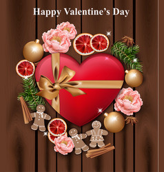 Valentines day card heart gift box and roses on vector
