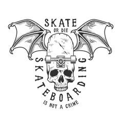Vintage monochrome sport skateboarding logotype vector