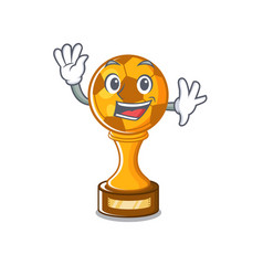 Waving soccer trophy with mascot shape vector