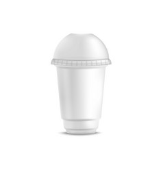 white disposable plastic cup for cold beverage vector image