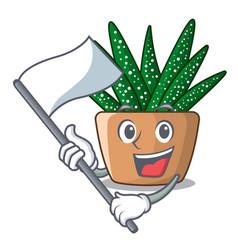 with flag cartoon zebra cactus plant at park vector image