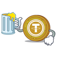 With juice tether coin mascot cartoon vector