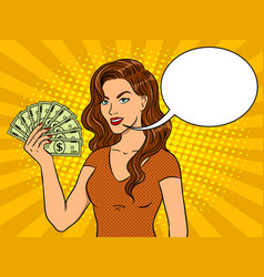 young woman with cash dollars pop art vector image