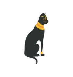 black egyptian cat symbol of traditional egyptian vector image