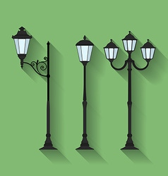 Icon set of three streetlights or lanterns Flat vector image