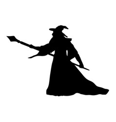 magician wizard character silhouette fantasy vector image