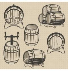 set of barrels in vintage style vector image