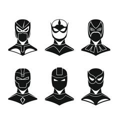 Superhero concept set in black simple style vector