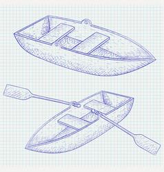 boat hand drawn sketch vector image vector image