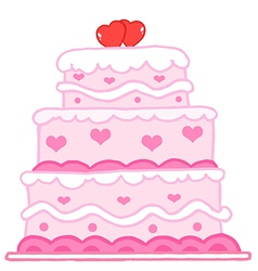 Cake With Two Red Hearts vector image vector image